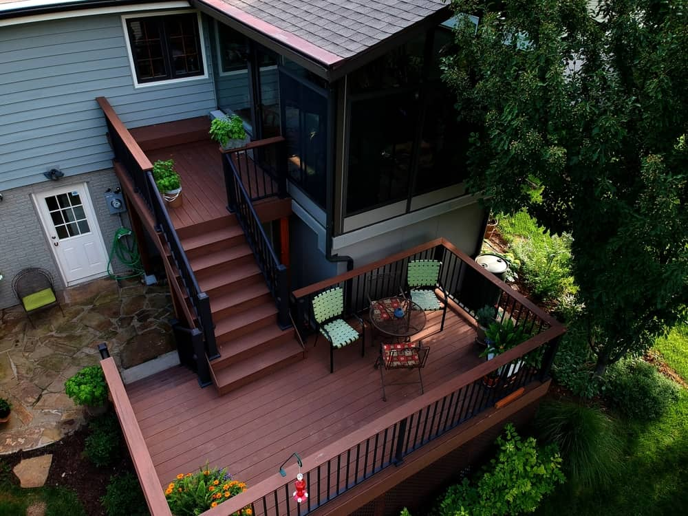 Composite Decking with Screened-In Porch and Sunroom constructed by Deck Builders Columbus Ohio