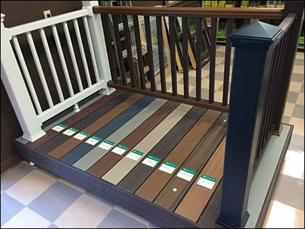 The composite decking options present within the showroom