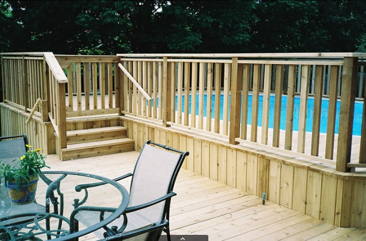 Above Ground Pool Deck in Columbus Ohio build by Deck Builders Columbus