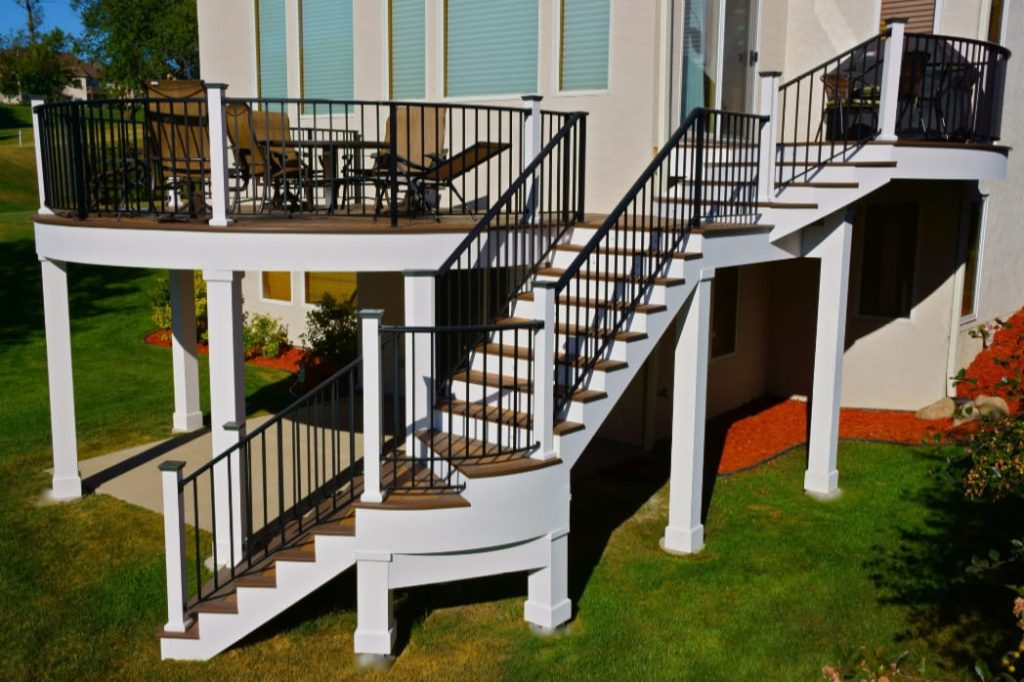 A two story, spiral staircase built by custom deck builders in the Columbus Ohio area