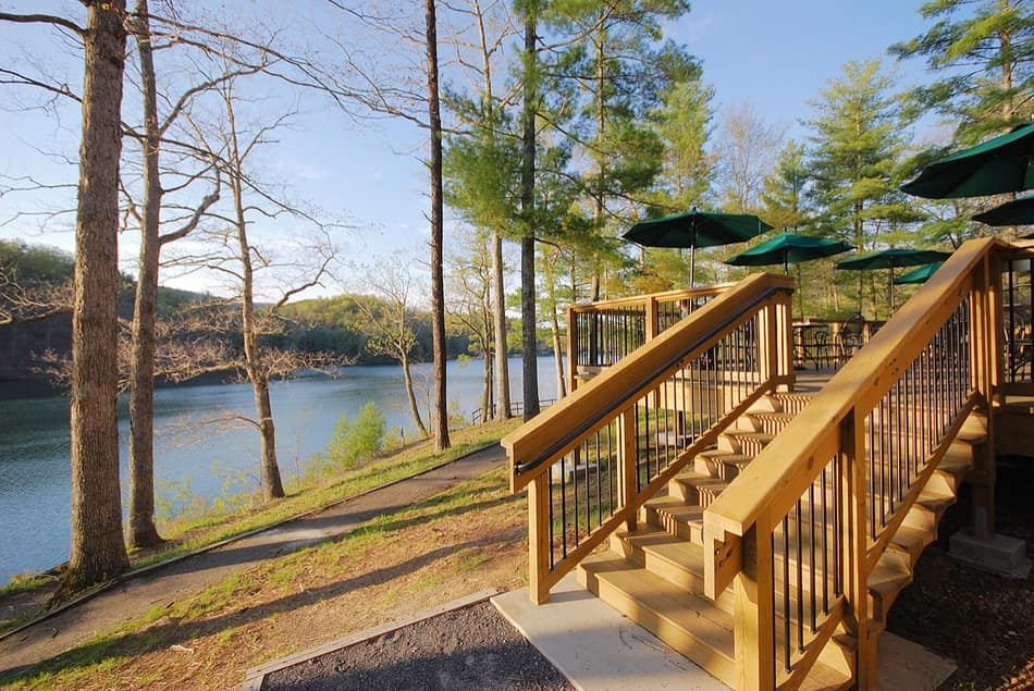 Deck Builders Columbus construction job next to a lake after building Deck Stairs