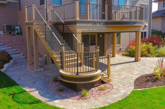 Beautiful brown deck stairs custom made by Deck Builders Columbus