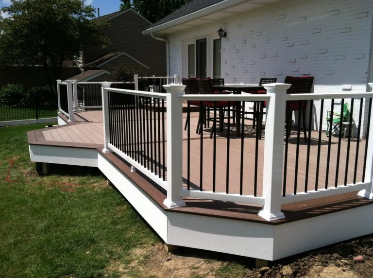 Beautiful Trex Decking in the backyard with custom composite railing built by Deck Builders Columbus Ohio