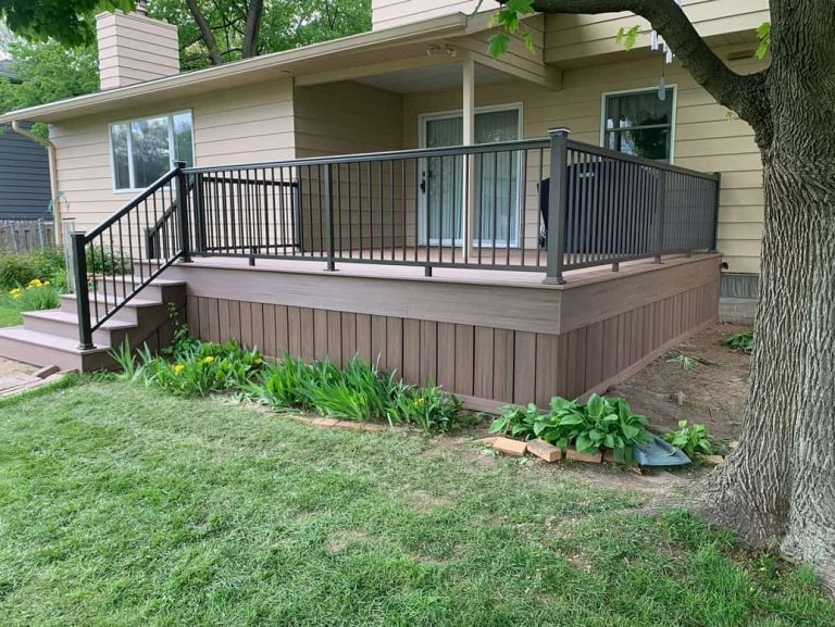 Composite Deck in the front yard of a Columbus home, courtesy of Deck Builders Columbus Ohio
