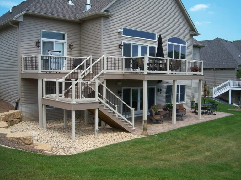 Beautiful two-story back deck created by Deck Builders Columbus Ohio