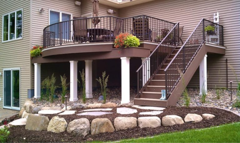 Two story custom composite deck built by Deck Builders Columbus Ohio